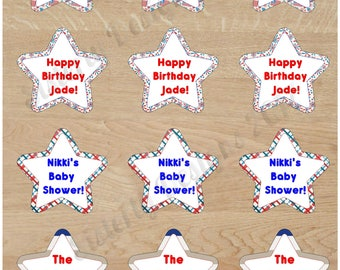 Patriotic Cup Cake Toppers|4th of July|BBQ|Baby Shower|Birthday|Patriotic|Gender Neutral|Red White & Blue|American Flag|Fireworks|Summer|