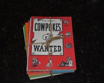 1960's mid century Ace Reid Cowpokes books (6-pack)