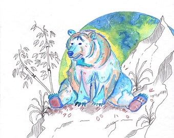 """Original watercolor painting """"The thoughtful bear"""" 20x20 cm"""