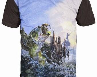 New Ultramodern 3D Printed High Quality  Fish Men's Blue T-shirt