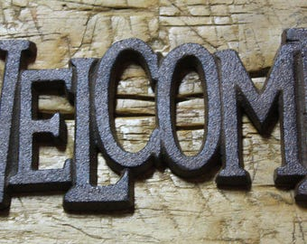 Cast Iron Antique RUSTIC Style WELCOME Plaque Sign GARDEN Ranch Wall Decor Part 39