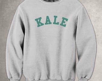 Kale Grey Sweatshirt Green Pullover Jumper Vegan Vinyl Print Funny Slogan Tee Leaf Healthy Hipster Green Vegetable Vegetarian Curly Kale