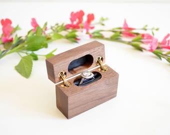 Hinged wood box etsy for Slim engagement ring box
