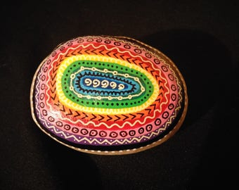 Multicolor painted Pebble paperweight