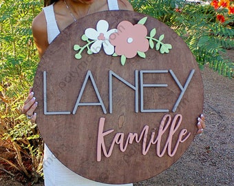 "24"" Floral Arch  Round Custom Name Wood Sign 