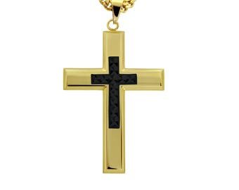 "Gold-Tone Cross with Black-Tone Diamond Cut Jesus Cross Necklace Pendant in Stainless Steel, 18""- 24"" Chain"