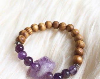 Amethyst and Wood Bracelet