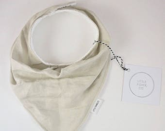 Linen Bandana Bib, French Linen, Linen Fabric, Little Fisher Co, Stone Grey, Handmade, Bandanda Bib