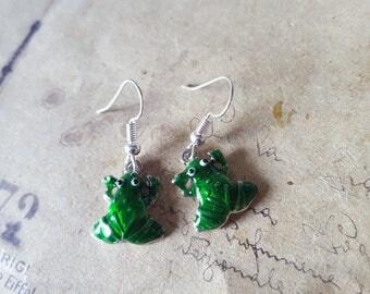 Frog earrings ~ silver ~