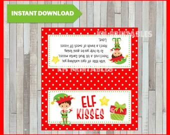 Merry Christmas Printable Bag Topper - Elf Kisses  - Instant Download