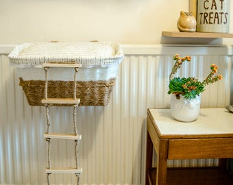 Cat Radiator Bed with Ladder - Cat Furniture, Cat Bed, Recycled, Cat Gift