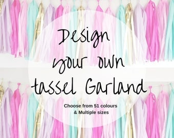 Design your own tissue paper  tassel garland- Create your own,  , Tassels Garland Kit Set of 6 to 500 Choose your Colors and quantity