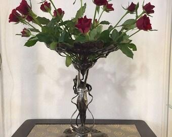 Wonderful Art Nouveau roses figurine, wmf 1900 silver coated/dreamlike Art Nouveau rose shell, wmf 1900 silver plated