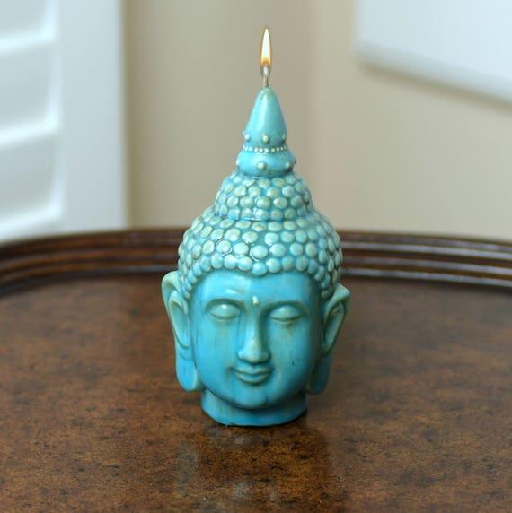 Beautiful Buddha Candle in Ceramic Turquoise