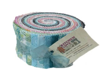 "Benartex Kitchen Love Pinwheel/Jelly Roll by Cherry Guidry - 40, 2.5"" of Precut Fabric Strips"