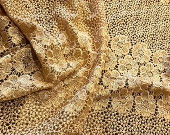 Embroidered Net Fabric Embellished with Sequins - Sold by the Yard - Width 48 inches