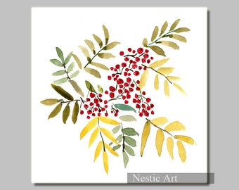 Autumn Rowan, watercolor painting, download, Autumn leaves, berries, color leaves, Autumn colors, thanks giving, Christmas card, red berry,