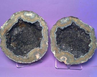 Whole Druzy Smokey Quartz Geode, Unpolished, Goethite, Calcite, Geode, Gemstone