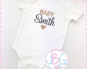 Personalised Baby Vest, Embroidered Onesie, Pregnancy announcement, Fun gift for a new baby, or baby shower