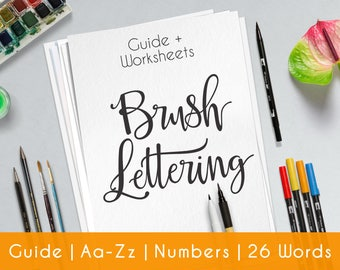 Bounce Hand Lettering | 27 practice sheets | Guide for Beginners | Brush Lettering workbook | Printable worksheets | learn Calligraphy | B4
