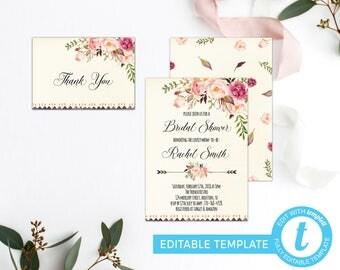 Floral Bridal Shower Invitation, Bridal Shower Invite, Printable Bridal Invite, Rustic Boho Bridal Printable Invitation, Watercolor Floral