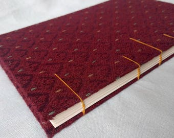 Red Diamond Upcycled Fabric Handbound Hardcover Coptic Journal Sketchbook Notebook - vellum writing paper