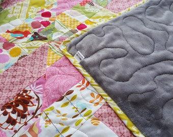 Baby girl handmade quilt/modern baby girl quilt/colorful minky quilt/baby quilt blanket/baby girl bedding/baby girl crib quilt/girl nursery