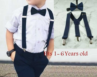 Boy Baby Kids Navy Blue Velvet Bow Tie Bowtie Suspenders Braces Sets 1-6 Years Old Wedding Party