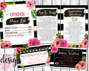 Lipsense by Senegence Business Marketing Kit, Business Punch card, Price List, Tips & Application, Bundle Pack Set, Black Stripe, PRINTABLE