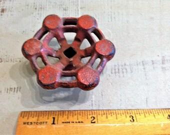 "One (1) Red 2 3/8"" diameter Iron Valve Handle/Knob, Faucet, Spigot Knob | Industrial Salvage | Steampunk | Loft Decor | Garden Decor"