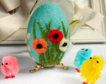 SALE Easter Egg Needle felted Egg Spring Ornament Eggs Eggs Ornaments With Flower Needle Felted Easter Egg With Flowers Miniature Original A