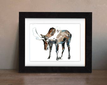 moose art print, moose artwork, moose gift idea, moose art, moose wall art, moose artwork, wildlife art, antler, art print, saltwatercolors