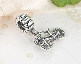 Authentic Sterling Silver charms BICYCLE Bead Charms Fits European & Pandora Charm Bracelet