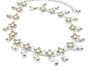 Flower fleur de li design silver anklet with silver ball charms
