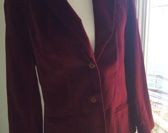 Faye's Closet vtg wine burgundy velvet blazer jacket size Large 13/14