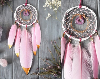 Pink And Gold Dream Catcher Baby Room Pink Dream Catcher Pink Agate Dream Catcher Agate Wall Hanging Gold Dipped Feathers Dreamcatcher Agate
