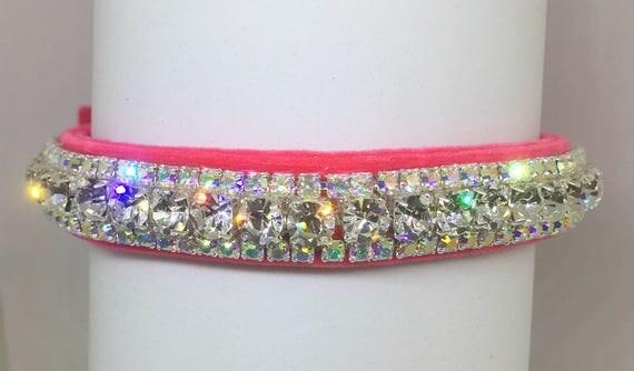 Cutie Pie Pet Collars TM ~Pink Velvet Glow~ Crystal Diamond Diamante Rhinestone Pet Dog Cat VELVET Collar + Free Charm  USA