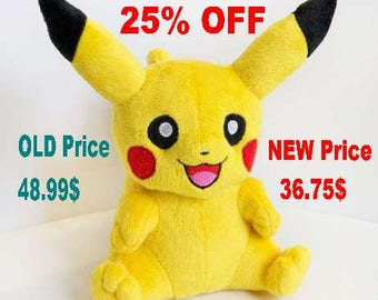 Pokemon Pikachu. Pokemon plush. Pikachu plush. Soft toy for girls, boys. Gift for her, for him, for mother, for baby. Gift for your girl