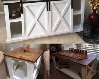 Sliding Barn Door TV Stand with End Table and Coffee Table