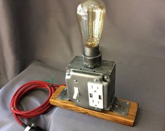 Industrial Desk Lamp - USB Charging Station - Tesla Lamp - Cell Phone Charger - Edison Bulb - Steampunk Lamp- Office Decor - Table Lamp