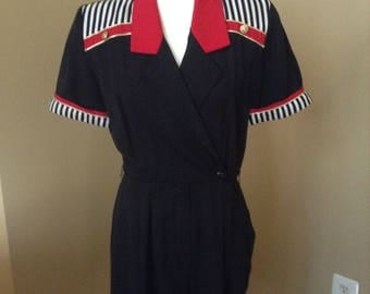 Vintage 80's Romper // Nautical Striped Sailor Summer FREE SHIPPING