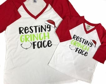 Resting Grinch Face//christmas// kids tee//adult tee// mommy and me