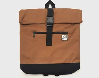 Manna - Roll-Top Back Pack - Caramel Brown