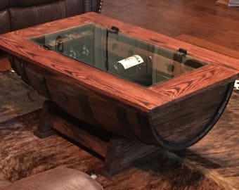 Whiskey Barrel Coffee Table with Bottle storage