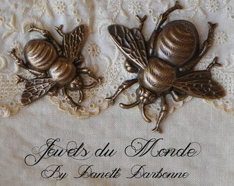 Victorian Style Bumble Bee Brass Stampings Finished Antiqued Made in USA