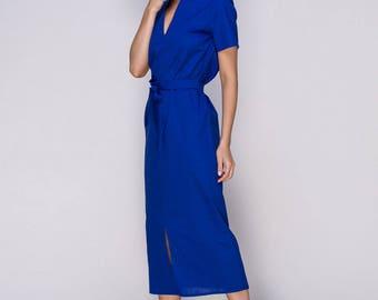 Royal blue linen dress.Shirt length calf dress retro inspired