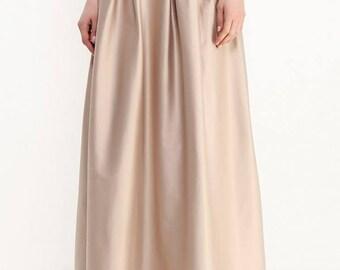 Light beige shiny pleated long skirt.Evening elegant Maxi skirt.