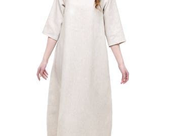 beige natural linen dress long oversize plus size dress