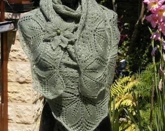 Hand knitted shawl.  Green shawl