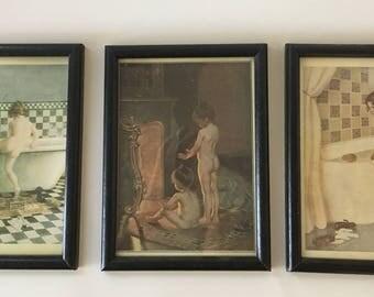 Set of three framed art prints from 1890-1922 - bathtub art -bathroom decor - vintage - antique